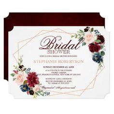 #Burgundy Red Navy Floral Geometric Bridal Shower Card - #weddinginvitations #wedding #invitations #party #card #cards #invitation #fall #fallbridalshowerinvitations