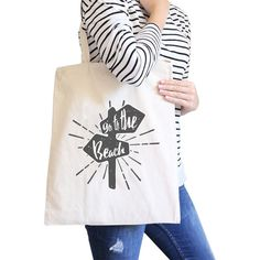 3145d08cf0 Go To The Beach Natural Canvas Bags