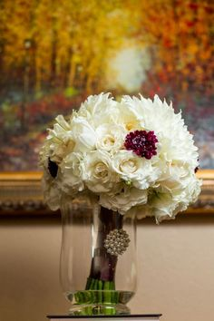 I like this idea. Dahlia, scabiola wedding boquet