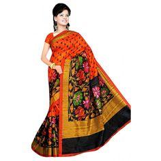 Party Wear Bhagalpuri Orange Saree - 80180