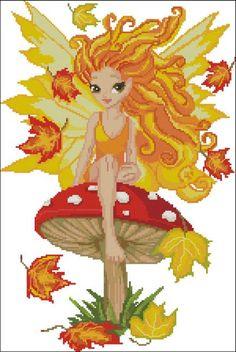 Autumn Fairy Cross Stitch PDF Chart. $9.95, via Etsy.