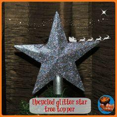 Upcycled glitter star tree topper (3 easy steps)