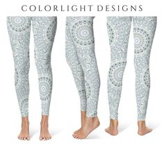 a61e2690bf Aqua Leggings Yoga Pants, Light Blue Mandala Printed Yoga Tights for Women,  Festival Clothing