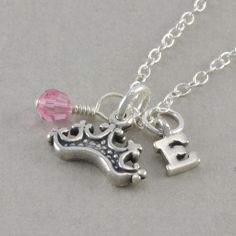 Princess Crown Necklace Sterling Silver by SixSistersBeadworks, $34.00