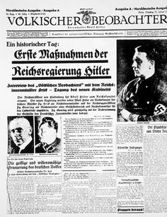 'Volkischer Beobachter'(the Nazi party newspaper) announcing the appointment of Hitler as Reichs Chancellor by Hindenburg, January 31, 1933.