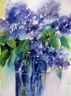 """Lilac Season 11"""" x14""""  original watercolor  matted    a painting a day"""