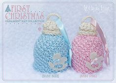 Baby First Christmas Ornament knit hat from Whimsy Lane Boutique on etsy
