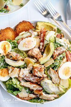 Skinny Chicken and Avocado Caesar Salad | | Healthy | Healthy snacks | Healthy treat | Yummy snacks | Delicious snacks || #healthy #healthysnacks #healthytreat #yummysnacks #delicioussnacks || https://pulpstoryjuice.com/