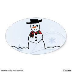 Snowman Oval Sticker #Snowman #Snow #Snowflake #Winter #Holiday #Christmas #Merry #Xmas #Sticker