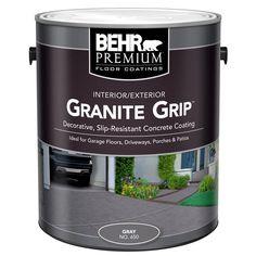 Gray Granite Grip Interior/Exterior Concrete Paint 65001 at T… BEHR 1 gal. Gray Granite Grip Interior/Exterior Concrete Paint 65001 at The Home Depot – Mobile Exterior Concrete Paint, Concrete Porch, Concrete Bricks, Concrete Floors, Cement Stain, Flat Interior, Interior And Exterior, Interior Design, Concrete Floor Coatings