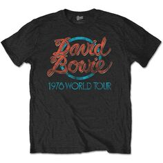 David Bowie Men's 1978 World Tour T-Shirt Black Sleeves Boy Cotton Men T Shirt Brand 2017 Male Short Sleeve