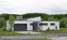 Traumhaft schöner Bungalow im Bauhausstil mit kombiniertem Flachdach und Pultdach