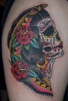 Custom Bride Sugar Skull Tattoo by Mikey Slater by ASPrintingPress, via Flickr