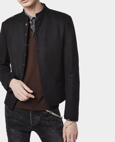 2e9b2e49d5b73 Military look jacket with gold buttons and leather details - Short Jackets  - Man - The Kooples