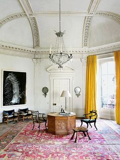 The home of interior designer Rose Uniacke is probably one of the most gorgeous homes I've real estate stalked this year. Of course, you should expect good interior design from an interior designer, right? Decor Inspiration, Interior Design Inspiration, Fashion Inspiration, Interior Architecture, Interior And Exterior, Color Interior, Yellow Interior, Rose Uniacke, Yellow Curtains