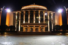 The Hungarian National Theatre at night - Budapest, Hungary