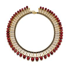An Antique English Victorian Garnet Fringe Necklace Shrubsole