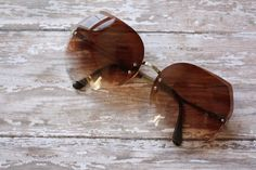 Vintage 1970s Silver and Gold Tone Metal Angular Sunglasses by pursuingandie, $48.50