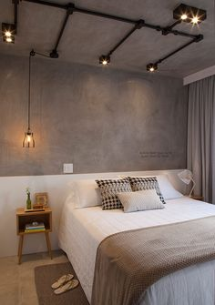 New Interior Design, Interior Design Living Room, Industrial Bedroom Design, Studio Apartment Decorating, Home Room Design, House Inside, Design Furniture, Fashion Room, White Bedroom
