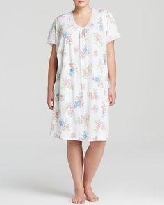 Lauren Ralph Lauren Plus Water Mill Knits Short-Sleeve Gown