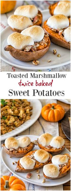 Toasted marshmallow twice baked sweet potatoes- an easy make ahead side dish for Thanksgiving. It's quite a crowd-pleaser too!
