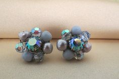 blue beaded clipon earrings vintage by TimesTwoBoutique on Etsy, $18.00