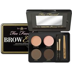 Too Faced Brow Envy Brow Shaping & Defining Kit found on Polyvore featuring beauty products, makeup, brown, too faced cosmetics, eyebrow makeup, wax kit, eyebrow wax kit and brown makeup