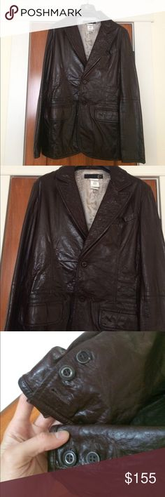 "Just Cavalli leather coat Authentic men's dark brown Just Cavalli leather coat by Roberto cavalli. Lined. Front buttons. Front pockets. This is in good condition, however do note that each sleeve is missing a button at the cuff and two of the cuff buttons are a little broken. Not at all noticeable when worn though. Length 29"" pit to pit 20"". Just Cavalli Jackets & Coats"