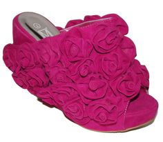 """NEW FUSCHIA PINK FLOWER FLORAL MULE CLOG WEDGE PEEP TOE . I've also seen them in """"Kermit"""" green and black. Crazy, but love them!"""