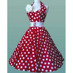 50's style red polka dot dress
