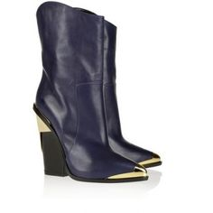 $290  Versace Metal-trimmed leather mid-calf boots