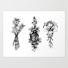 In Bloom - herbarium Art Print by Sinpiggyhead | Society6