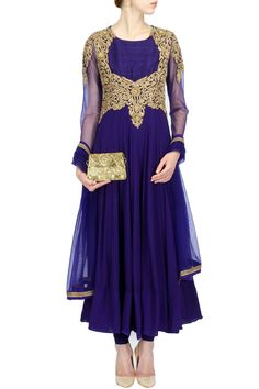 Indigo sheer embroidered kurta set BY ANEESH AGARWAAL. Shop now at perniaspopupshop.com #perniaspopupshop #clothes #womensfashion #love #indiandesigner #aneeshagarwaal #happyshopping #sexy #chic #fabulous #PerniasPopUpShop #ethnic #indian