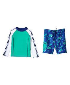 Another great find on #zulily! Aqua Stripe & Palms Rashguard Set - Kids & Tween #zulilyfinds