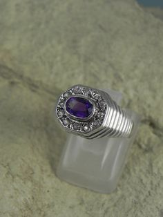 Genuine Amethyst Diamond Sterling Ring by hollywoodrings on Etsy, $65.00