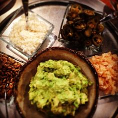 Rick Bayless l GUAC - roasted garlic guac & toppings Appetizer Ideas, Appetizer Recipes, Snack Recipes, Appetizers, Cooking Recipes, Snacks, Mexican Meals, Mexican Food Recipes, Whole Food Recipes