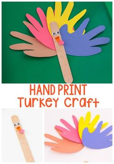 How to make a hand print turkey craft! This bright paper turkey craft is a fun and easy craft for Thanksgiving! A nice change from the normal hand print turkey crafts! Try this great craft for Thanksgiving today! #thanksgiving #crafts #diy #kidscrafts #turkey #easy