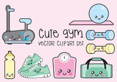 Premium Vector Clipart - Kawaii Workout Clipart - Kawaii Gym Clip art Set - High Quality Vectors - Instant Download - Kawaii Gym Clipart