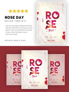 Party Flyer, Layout, Ui Inspiration, Templates, Typo, Rose, Day, Fonts, Photoshop