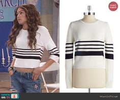 KC's white striped sweater on KC Undercover. Outfit Details: http://wornontv.net/48129/ #KCUndercover
