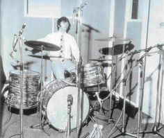 "In May of 1964, Ringo switched to a slightly larger Ludwig Super Classic kit. Drum sizes: 9"" x 13"" Tom, 16"" x 16"" Floor Tom, 14"" x 22"" Bass Drum, 5.5"" x 14"" Snare Drum."