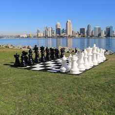 Checkmate! You have found the age old game of chess in giant proportions! Our giant chess set is made from durable PVC, waterproof, and UV protected, so these pieces are ideal for outdoor or indoor pl