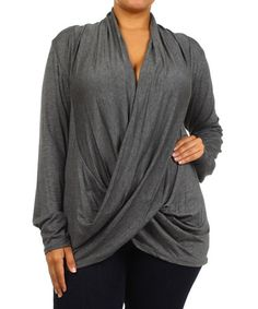 Another great find on #zulily! Charcoal Drape Top - Plus by J-Mode USA Los Angeles #zulilyfinds