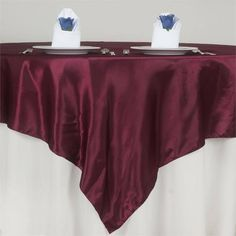 Efavormart Satin Square Tablecloth Overlay for Wedding Catering Party Table Decorations Burgundy Square Tablecloth Cover