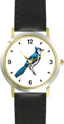 Bluejay Bird Animal - WATCHBUDDY® DELUXE TWO-TONE THEME WATCH - Arabic Numbers - Black Leather Strap-Size-Children's Size-Small ( Boy's Size & Girl's Size ) WatchBuddy. $49.95
