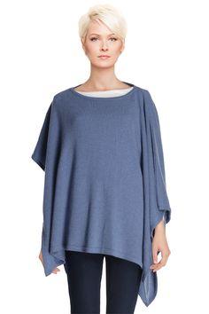 Poncho de lã Azul