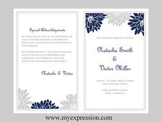 Wedding Program Template  Navy and Gray Blooms by MyExpressionShop