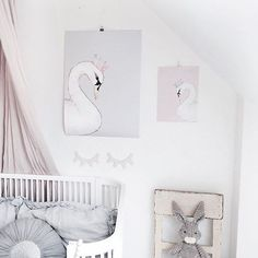 Sweet baby girl's nursery in grey and pink