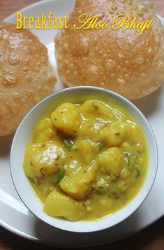 Puri Bhaji Recipe - Breakfast Aloo Bhaji Recipe - Aloo Bhaji without Onions & Garlic - Yummy Tummy Indian Vegetarian Dishes, Indian Veg Recipes, Indian Dishes, Vegetarian Recipes, Lunch Recipes, Gosht Recipe, Cooking Dishes, Kitchens, Recipes