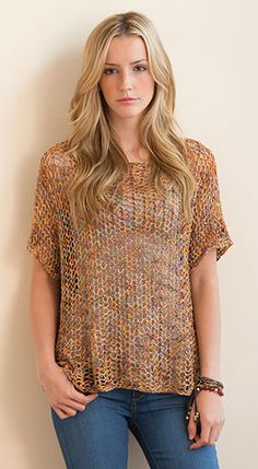 Knitting pattern for Lucente Tee. This openwork top looks great in multi-color yarn. Quick knit great for layering or could even work as a cover up. S (M, L, XL, 2XL, 3XL) Annie's affiliate link tba beach